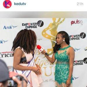 Having an interview with Kedu TV at the Miss Nigeria USA Pageant.